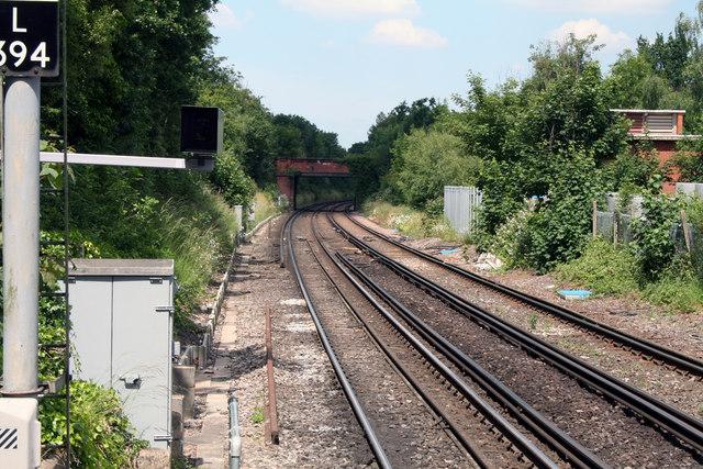 West Wickham:  Railway towards Eden Park
