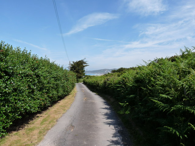 Vention Lane with a glimpse of Woolacombe in the distance