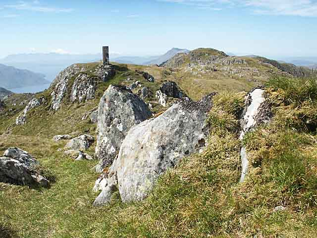 Trig point on Sgurr nan Eugallt