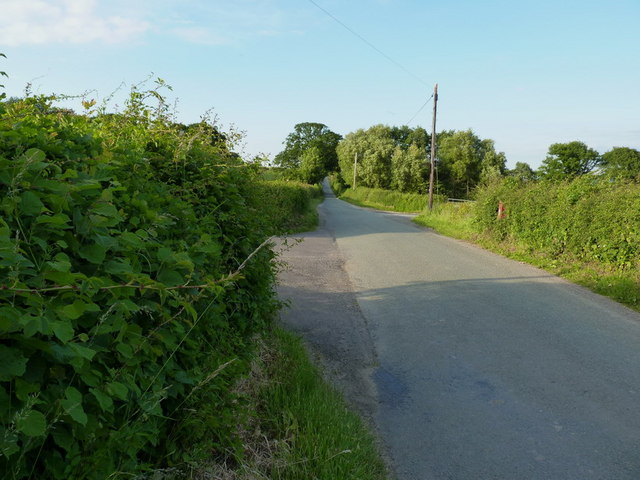 Country lane and two bridleways, plus a post box