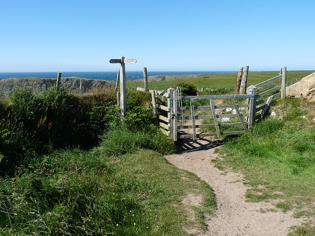 Signpost and gate on the coastal path