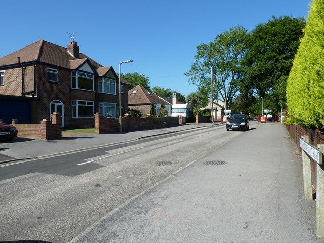 Looking up Aldermoor Road East towards Purbrook Infant School
