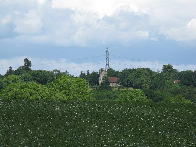 Long distance view across fields