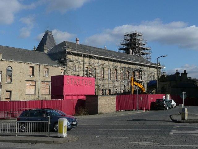 Work in progress on Pioneer House, Dewsbury