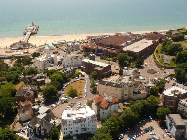 Bournemouth: the pier and the BIC from above
