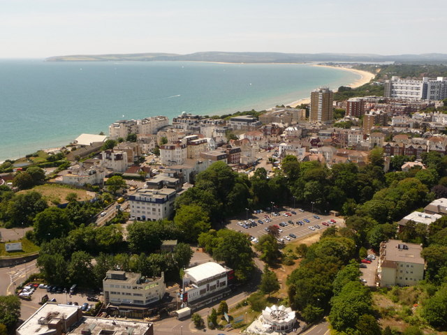 Bournemouth: coastal view west from the balloon