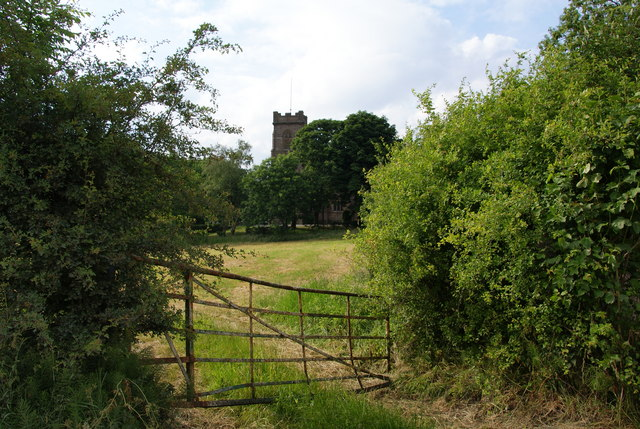 Gate and field in front of St John's Thornham