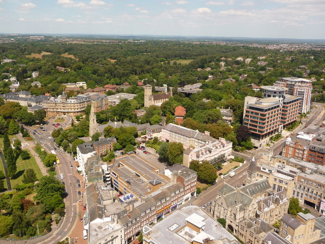 Bournemouth: looking down on Bourne Avenue and Richmond Hill
