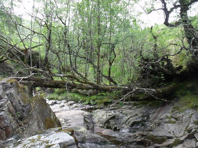 Natural bridge over Allt Ghamhnain near  Bridge of Orchy
