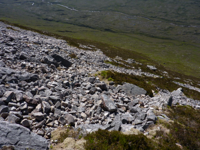 Scree slope of Druim Gruidaigh, above Grudie river