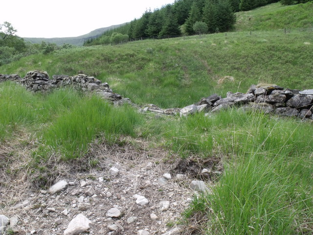 ATV track 'fording' a drystane dyke on the west bank of Allt Ghamhnain