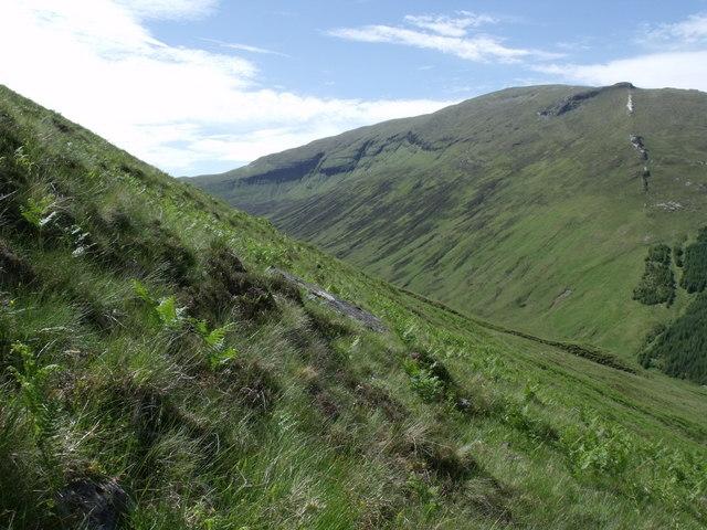 North-west slopes of Beinn Bhreac-liath above Allt Ghamhnain
