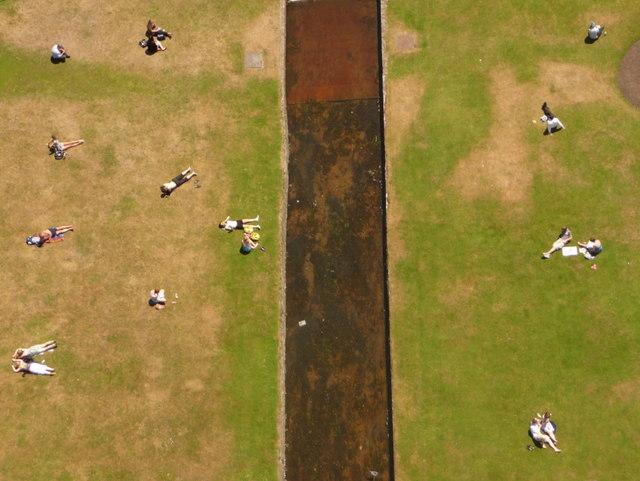Bournemouth: sunbathers flank the Bourne Stream