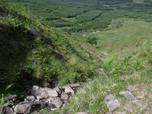 Dry course of steep minor burn on Beinn Bhreac-liath near Tyndrum