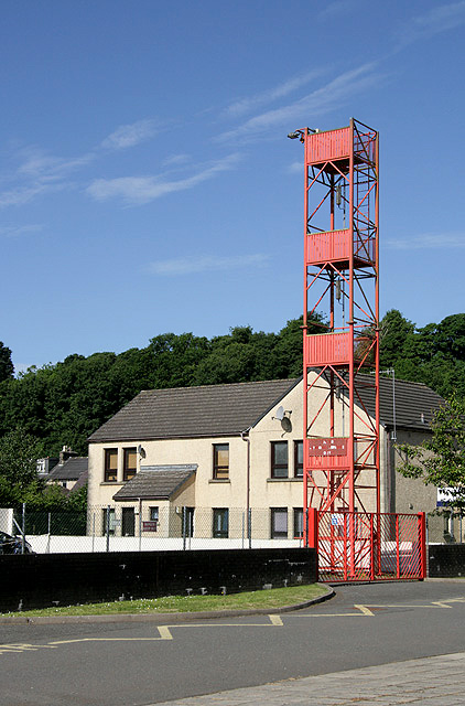 The drill tower at Langholm Fire Station
