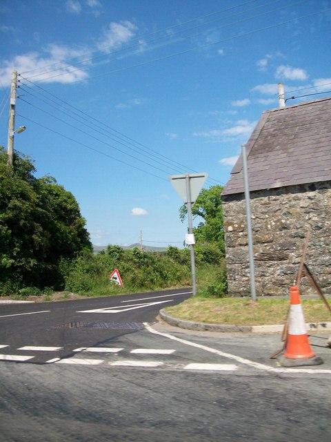 Road junction at Bwlch-y-Ffordd-Isaf