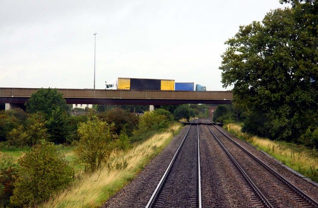 The M5 crossing the railway