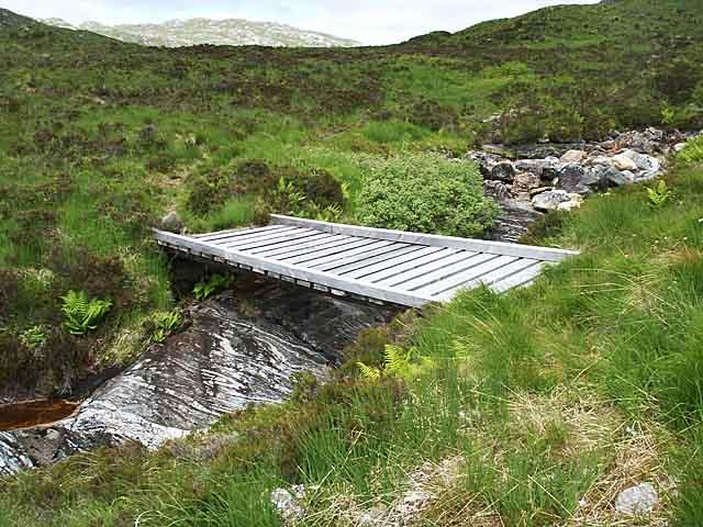 Wooden bridge across the Allt an Utha