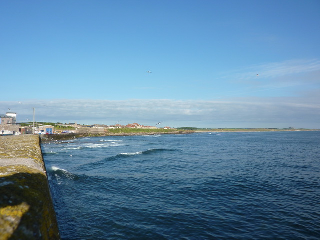 View along the seawall towards the northern part of Seahouses