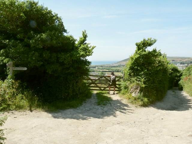 Where footpaths meet on Milkaway Lane, Croyde