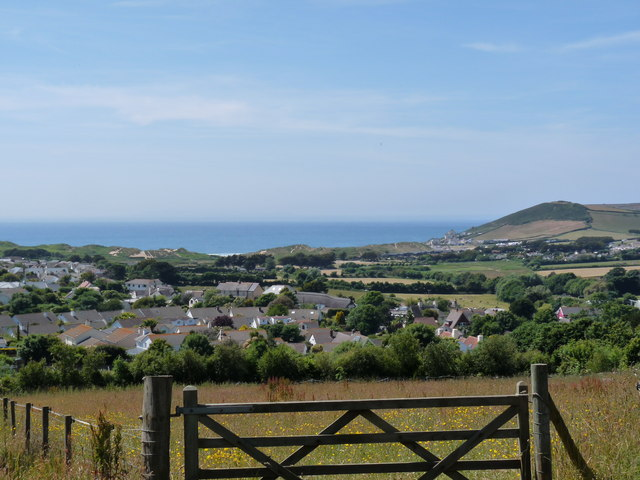 A view from Milkaway Lane across Croyde to Croyde Bay