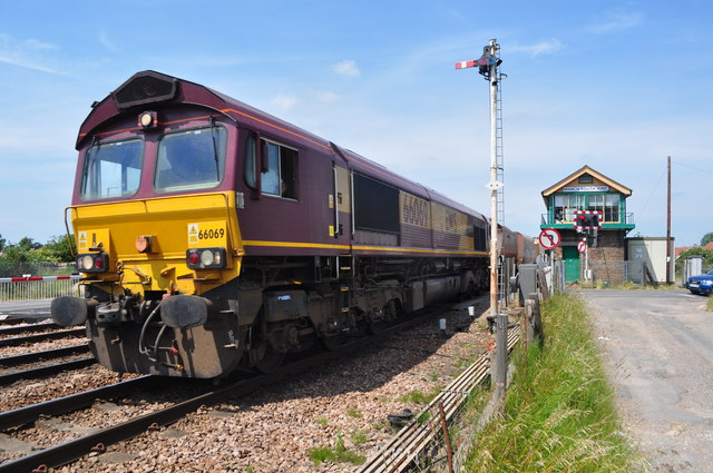 EWS 66069 on a Freight Train past March South Junc Signal Box