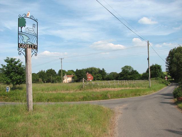 Village sign at Cookley Corner