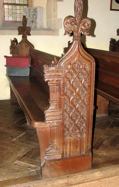 St Michael's church in Cookley - carved bench end