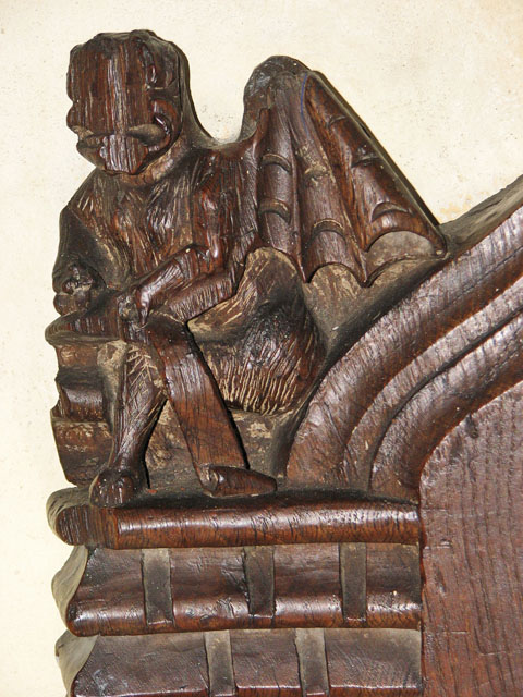 St Michael's church in Cookley - carved bench elbow