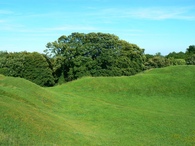 East across the Roman amphitheatre, Cirencester