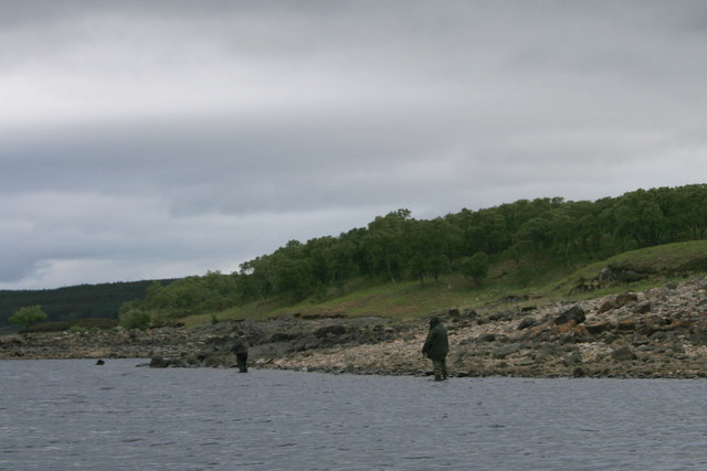Bank anglers on the shore by Arscaig