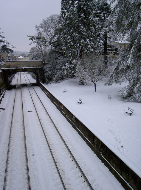 Railway and park in snow