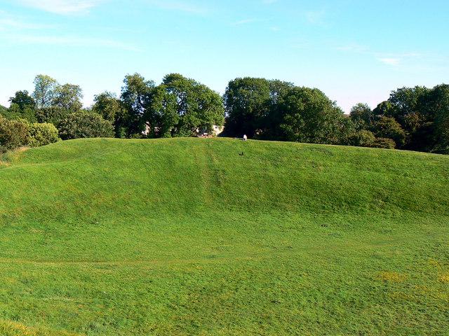 South-east across the Roman amphitheatre, Cirencester