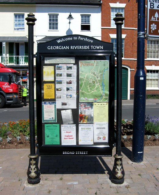 Welcome to Pershore notice board, Broad Street