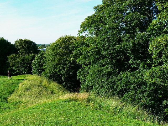 North across the edge of the Roman amphitheatre, Cirencester