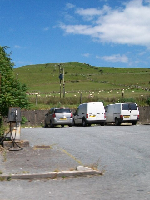 Car park  and an old petrol pump off the A499 at Llanaelhaearn