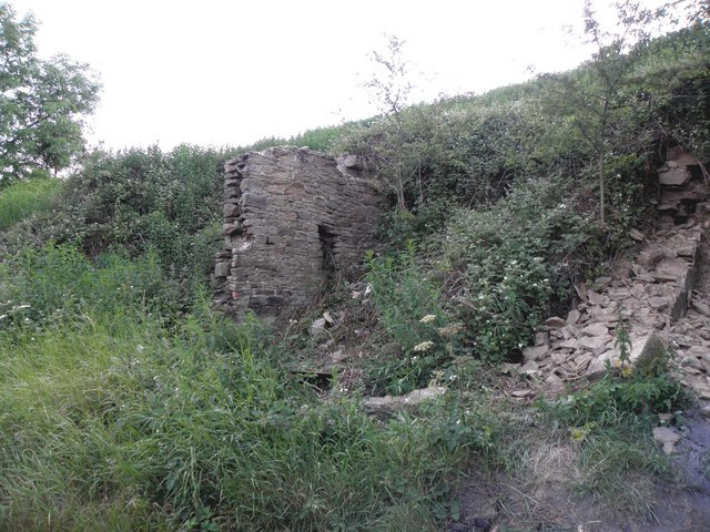 The remains of Hollyn Well Cottages, Pickwood Scar, Norland