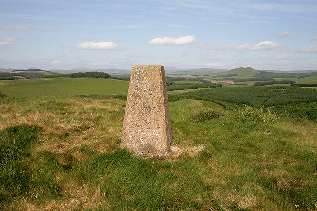 The triangulation pillar on Shaw Craigs