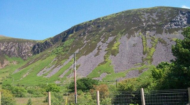 Scree slopes on Gyrn Ddu