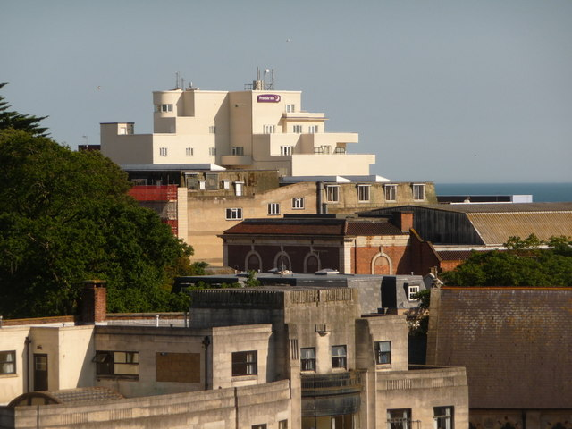 Bournemouth: view over rooftops to the Premier Inn
