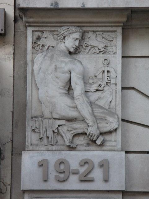 Bas relief panel on 19-21 Hatton Garden, EC1