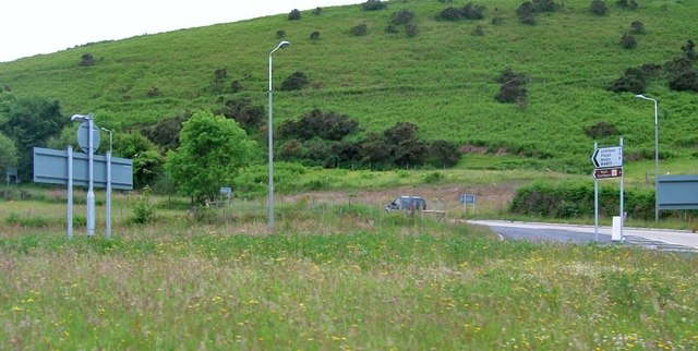 View across the new roundabout at the junction of the A494 and the B4417
