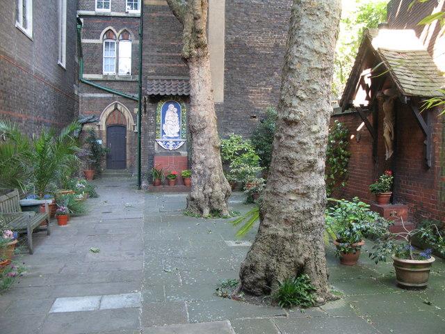 The church of Saint Alban The Martyr, Brooke Street, EC1 - courtyard