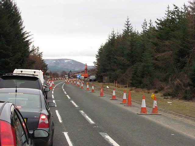 A9 road works, Moy