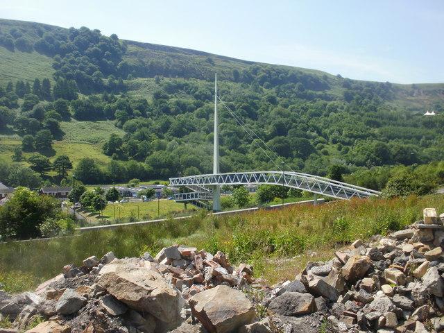 Cwm footbridge viewed from the east