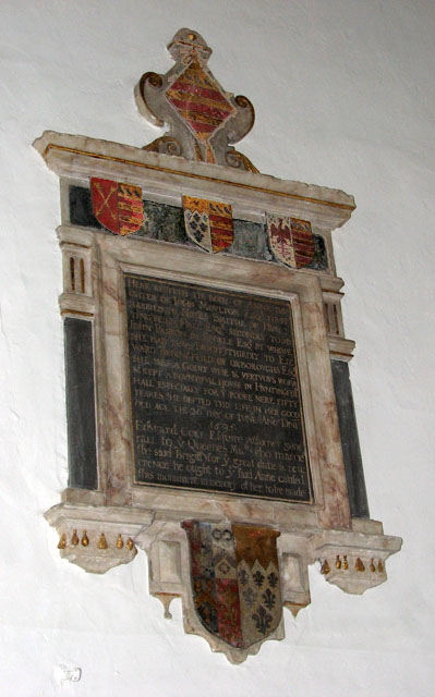 St Mary's church in Huntingfield - C17 memorial