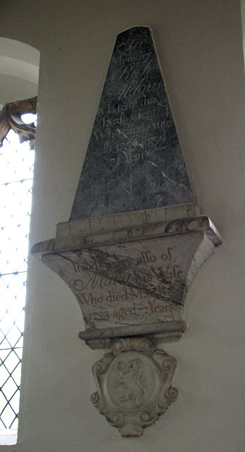 St Mary's church in Huntingfield - C18 memorial