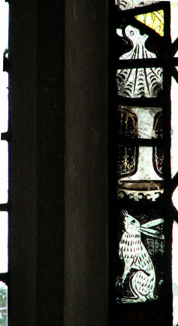 St Mary's church in Huntingfield - medieval border glass
