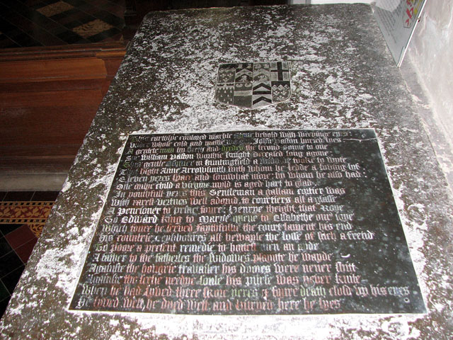 St Mary's church in Huntingfield - table tomb inscription