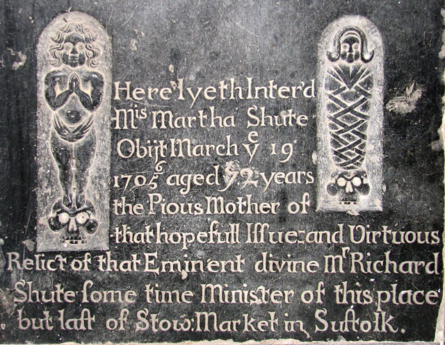 St Mary's church in Huntingfield - ledger slab (detail)